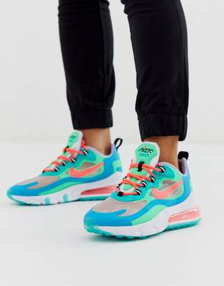 Nike White Green And Blue Air Max 270 React Sneakers