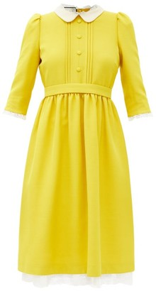 Gucci Lace-trimmed Silk-blend Crepe Dress - Yellow