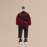 Burberry Check Wool Cashmere Blend Sweater