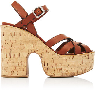 Miu Miu Leather Cork Platform Sandals