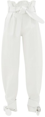 ATTICO Belted Wide-leg Leather Trousers - White