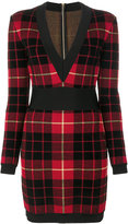 Balmain tartan knitted dress
