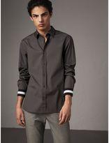Burberry Striped Cuff Stretch Cotton Shirt , Size: M, Grey