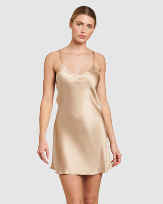 Ginia Women's Gold Chemises - Silk V Neck Chemise - Size One Size, 8 at The Iconic