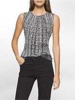 Calvin Klein Womens Broken Stripe Pleat Neck Blouse