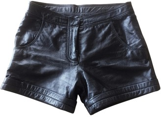 Barneys New York Black Leather Shorts for Women