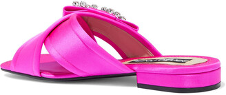 Sergio Rossi Sr Icona Embellished Neon Satin Mules