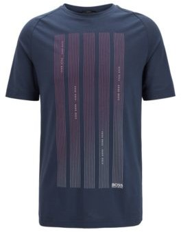 HUGO BOSS Slim Fit T Shirt In S.Cafe Fabric With Logo Graphics - Dark Blue