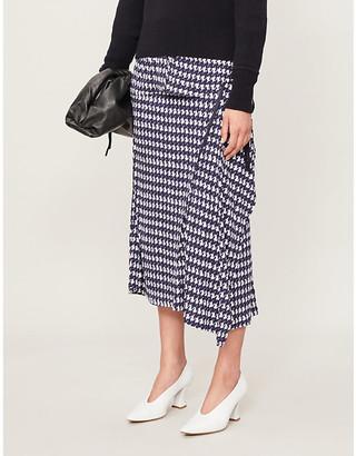 Victoria Beckham Houndstooth-print high-waisted woven skirt