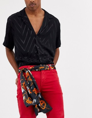 ASOS DESIGN scarf belt in black with all over print