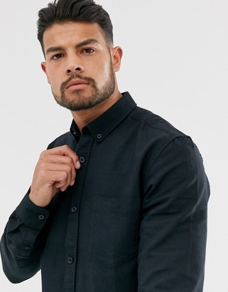 ONLY & SONS slim fit oxford shirt in black