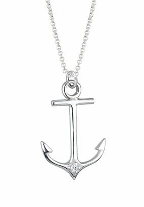 Elli Women's 925 Sterling Silver Anchor Diamond Necklace of Length 45 cm