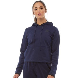 New Balance Womens Relentless Cropped Poly Fleece Hoodie Pigment Navy