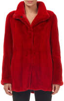 Gorski Wing-Collar Snap-Front Mink Fur Jacket w/ Sheared Sleeves