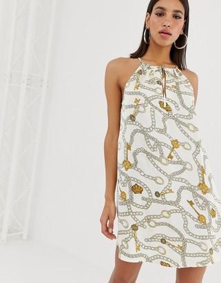 NA-KD Na Kd chain print A-line mini dress in light beige