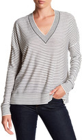 ATM Anthony Thomas Melillo V-Neck Stripe Silk Cashmere Blend Sweater