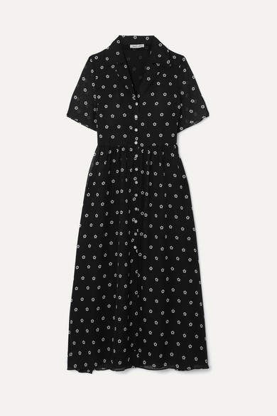 Sandy Liang Picasso Floral-print Georgette Dress - Navy