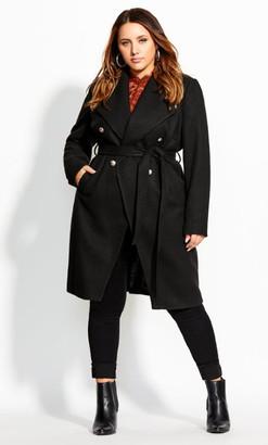 City Chic Sassy Military Coat - black