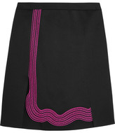 Christopher Kane Guipure Lace-Trimmed Crepe Mini Skirt