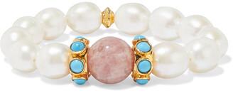 Bounkit 14-karat Gold-plated, Freshwater Pearl, Turquoise And Quartz Bracelet