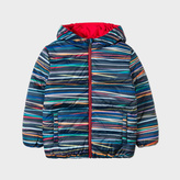 Paul Smith Boys' 7+ Years 'Stripe Stick' Print Reversible Zebra-Logo Down Jacket