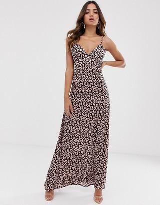 Club L London low back cami maxi dress in animal print-Beige