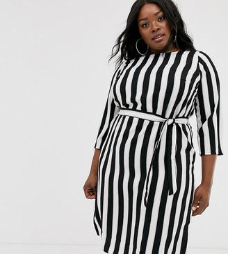 Junarose stripe round neck dress-Multi