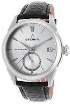 Eterna 7680-41-11-1175 Men's Soleure Auto Gmt Black Genuine Alligator -Tone Dial Ss Watch