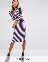 House of Holland Exclusive Breton Midi Skirt