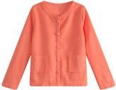 Orange Lace-Back Cardigan - Toddler & Girls