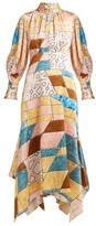 Peter Pilotto Geometric-print Hammered Silk-blend Midi Dress - Womens - Pink Multi