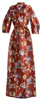 DELPOZO Notch-lapel floral-print silk gown