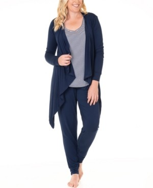 Blooming Women by Angel Three Piece Waterfall Cardigan, Top and Casual Pants Set