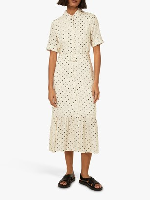 Warehouse Polka Dot Shirt Dress, Neutral Print