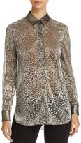 T Tahari Josella Metallic Animal Print Blouse