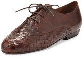 Sesto Meucci Naxos Woven Leather Oxford, Dark Tan