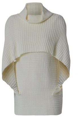 Dorothy Perkins Womens *Izabel London Cream Roll Neck Cape Jumper, Cream