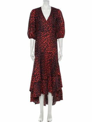 Ganni Animal Print Long Dress Red