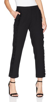 Nicole Miller Women's Side Ruffle Tapered Ankle Pant