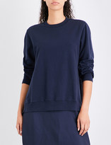 Clu Ruched-panel cotton-jersey and silk-satin sweatshirt