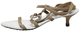 Tod's White/Brown Strapped Buckle Sandals Size 40