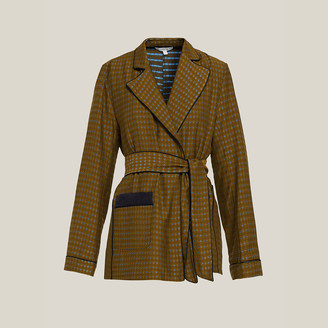 LAYEUR Brown Fitzgerald Printed Long Sleeve Belted Jacket S