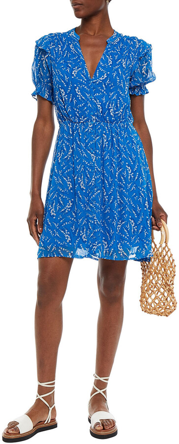 Thumbnail for your product : BA&SH Gathered Floral-print Crepon Mini Dress