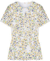 MICHAEL Michael Kors Hayden Printed Broderie Anglaise Cotton Peplum Blouse - White