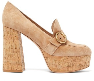 Gianvito Rossi Louise 70 Moccasin Suede Platform Pumps - Beige