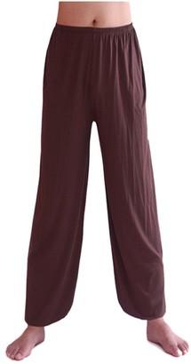 Zongsen Men's Super Soft Yoga Pilates Pants Loose Modal Bloomers Home Tai Chi Harem Joggers Sweat Trousers Black L