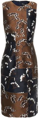 Oscar de la Renta Patchwork-effect Floral-jacquard Dress