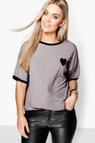 boohoo Plus Tipped T-Shirt With Heart