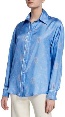 Maggie Marilyn The Hang Ten Printed Button-Down Silk Shirt