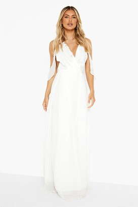 boohoo Chiffon Frill Wrap Maxi Bridesmaid Dress